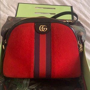 Handbags - Gorgeous Red & Blue Suede Saddle Bag
